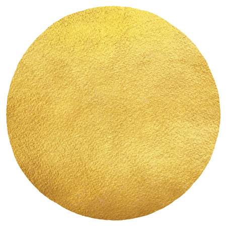 uneven edge: Gold round background with uneven edge isolated on white. Sun illustration. Golden circle shape template. Gold foil texture background. Stock Photo