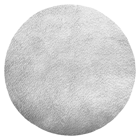 metal monochrome: Silver or iron round background with uneven edge isolated on white. Moon illustration. Metal texture. Steel circle shape template. Silver foil monochrome background. Industrial texture. Stock Photo