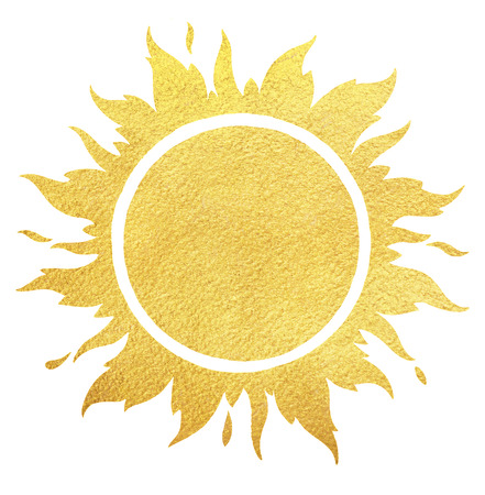 Golden sun with crown and sparks. Gold background. Round sun shape with fire or flame border with space for text and rough paper texture.