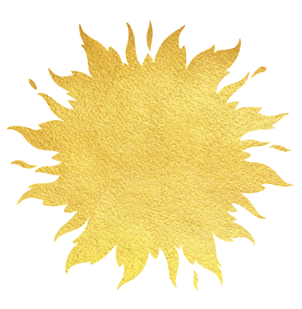 Golden sun silhouette with crown and sparks. Gold background. Sun shape or flame border with space for text and rough paper texture.
