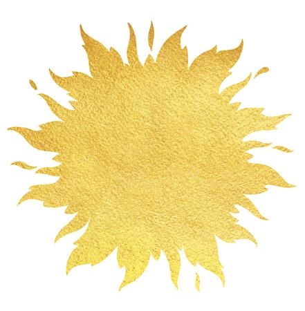 sole: sagoma sole d'oro con corona e scintille. fondo oro. forma di sole o di confine fiamma con lo spazio per il testo e la consistenza della carta ruvida.