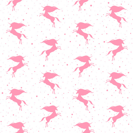 creature of fantasy: Prancing unicorn silhouette with uneven dots, specks, spots or blobs texture. Seamless Fairytale simple background. Mythical, fantasy, magic creature texture.