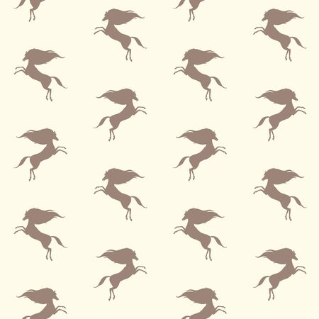 regular people: Horse silhouette seamless pattern. Equestrian simple background. Tiny horses texture. Prancing small mustang with long mane template.