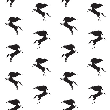 tiny: Horse silhouette seamless pattern. Equestrian simple background. Tiny horses black and white texture. Prancing small mustang with long mane template. Illustration