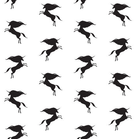 mythical: Unicorn silhouette seamless pattern. Black and white fairyland simple background. Mythical, fantasy, magic creature texture. Prancing small unicorns with long mane template.