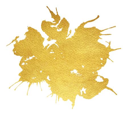 黄金のスプラッシュ、汚れや白い背景で隔離のしずくしみを付けなさい。高級紙テクスチャをラフします。あなたのデザインの芸術的なゴールドの