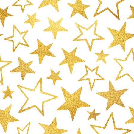 golden star: Golden foil stars of different size isolated on white. Seamless pattern. Gold doodle style stars with rough paper texture. Stock Photo