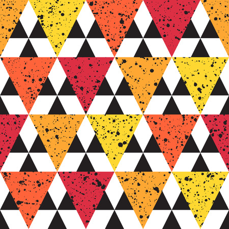 Triangles with black splash or blobs texture seamless vector pattern. Geometric colorful abstract background. Red, orange and yellow triangles with uneven spots, specks, blots texture.
