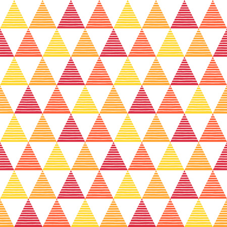 streaks: Colorful striped triangles seamless pattern. Geometric abstract background. Red, orange, yellow triangles with uneven stripes, streaks, bars texture. Fire, flame colors.