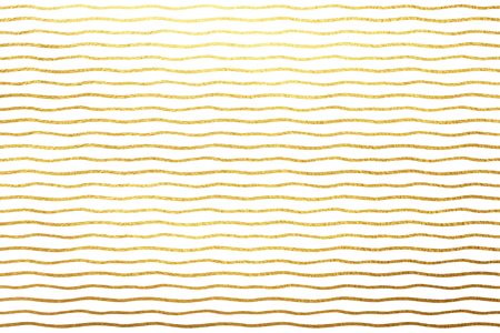 texture paper: Golden waves isolated on white luxury background. Gold foil wavy lines or bars on white backdrop. Striped yellow texture. Free hand drawn streaks pattern. Stock Photo