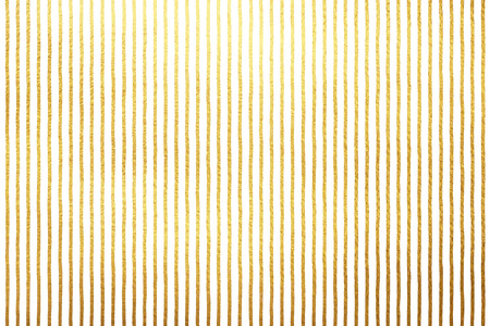 Golden stripes isolated on white luxury background. Gold foil lines or bars on white backdrop. Striped yellow texture. Free hand drawn streaks pattern.