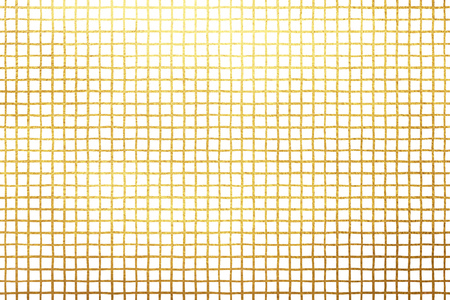 drawn metal: Golden cage isolated on white texture. Checked, square, plaid pattern. Gold lattice, grille. Vertical and horizontal crossing stripes. Chequered geometrical background.