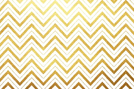 drawn metal: Gold foil zigzag ornament background. Golden waves isolated on white luxury backdrop. Zigzag stripes of different width. Yellow tribal or ethnic abstract background.