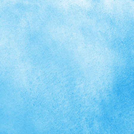 Sky blue watercolor abstract background. Painted texture with watercolour stains. Hand drawn square water template.