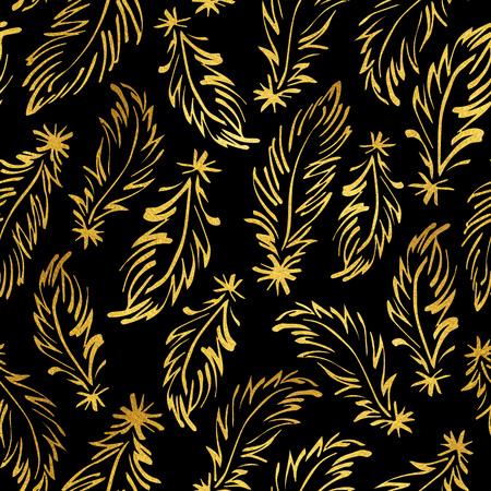 endlos: Goldene Federn auf schwarzem nahtlose Muster isoliert. Boho-Stil glitzernde Luxus-Hintergrund. Tiny Hand gelben Federn endlos Textur gezeichnet. Goldfolie Textur Verzierungen. Lizenzfreie Bilder