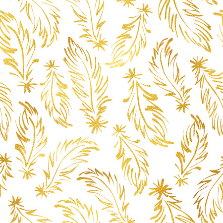tiny: Golden feathers isolated on white seamless pattern. Boho style glittering luxury background. Tiny hand drawn yellow feathers endless texture. Gold foil texture ornamentation.