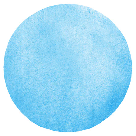 blue background texture: Sky blue watercolor circle abstract background. Painted round texture with watercolour stains. Hand drawn water template.