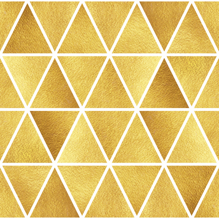 Gold triangles seamless pattern. Geometric luxury abstract background. Golden glittering triangles texture.