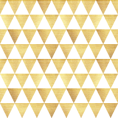 Gold triangles with stripes seamless pattern. Geometric luxury abstract background. Golden glittering triangles with uneven hand drawn streaks texture.
