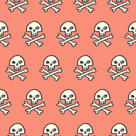 scull: Doodle style pirate skull and crossbones seamless vector pattern. Halloween background. Hand drawn simple jolly roger illustration. Scull and cross bones.