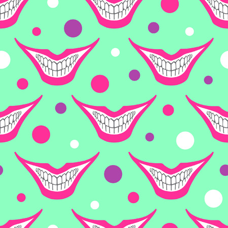 bared teeth: Evil clown or playing card joker smile with colorful circles seamless vector pattern. Creepy, scary smiles with painted pink lips and bared teeth texture. Fools Day or Halloween funny background.