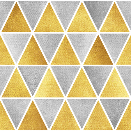 argent: Gold and silver triangles seamless pattern. Geometric golden and steel abstract background. Iron and yellow glittering triangles texture.