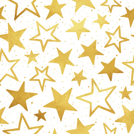speckles: Gold foil stars of different size vector seamless pattern. Golden doodle chaotic blots, splash or speckles texture. Cosmic, space background.