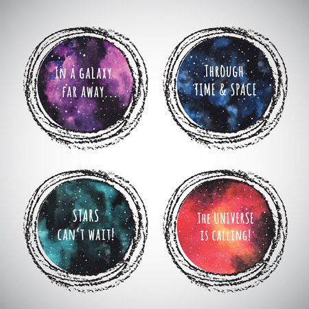 brush paint: Set of round colorful cosmic backgrounds or night sky with stars, universe, galaxy. Watercolor shape with frame. Watercolour stains circles collection with motivation lettering and chalk border.