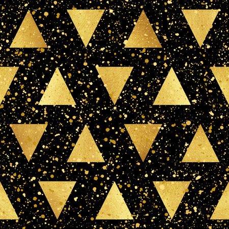 sputter: Gold triangles with splash or spangles seamless vector pattern. Geometric luxury abstract background. Golden glittering triangles and blobs texture. Illustration