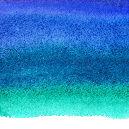 ultramarine: Bright colorful watercolor stains background. Navy blue, ultramarine, emerald watercolour gradient fill. Painted abstract template with rough paper texture. Sea, ocean backdrop with uneven edge. Stock Photo