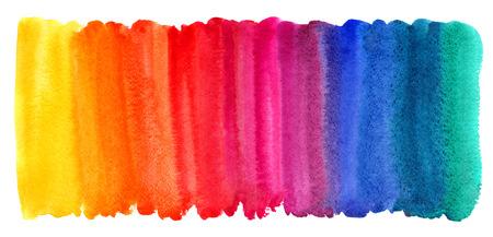 Heldere kleurrijke aquarel vlekken achtergrond. Veelkleurige penseelstreek op wit wordt geïsoleerd. Levendige waterverf strepen van verschillende kleuren van de regenboog textuur. Geschilderd abstract sjabloon met ongelijke rand.