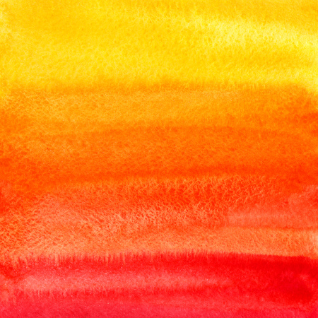 Bright colorful watercolor background. Fire, autumn or sunset colors watercolour texture with stains. Yellow, orange, red gradient fill. Hand drawn template.