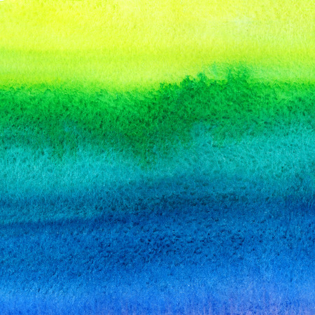 Bright colorful watercolor stains background. Navy blue, green, lemon yellow watercolour gradient fill. Painted abstract template with rough paper texture.
