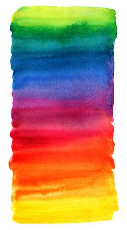 明るいカラフルな水彩背景を汚れ。色とりどりのブラシ ストロークは、白で隔離。異なる虹色テクスチャの鮮やかな水彩画のストライプ。不均一な