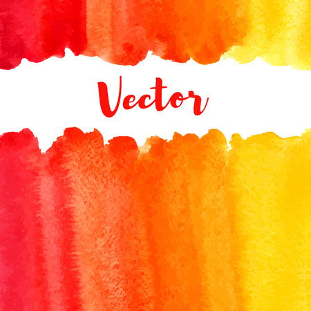 Watercolor vector background with space for text. Frame or border made of striped watercolour gradient fill - orange, red, yellow. Brush drawn texture. Fire, tropical colors. Artistic uneven edge.