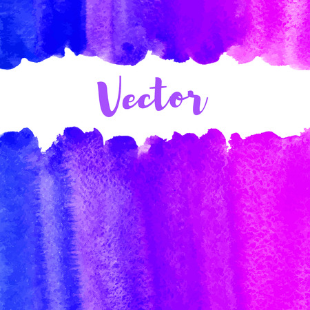 ultramarine blue: Watercolor vector background with space for text. Frame or border made of striped watercolour gradient fill. Retro neon 80s colors. Ultramarine blue, violet, pink. Brush drawn texture. Uneven edge.