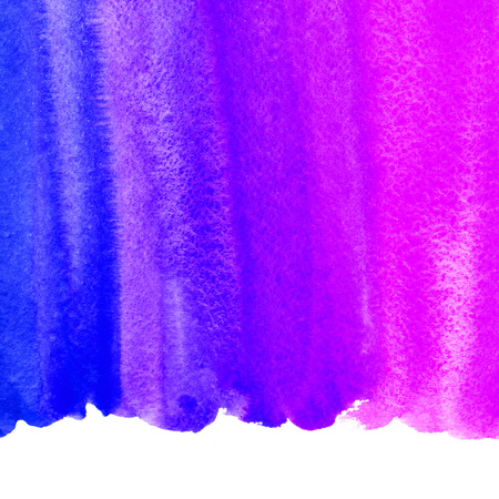 ultramarine: Watercolor background with space for text. Frame or border made of striped watercolour gradient fill. Retro neon 80s colors. Ultramarine blue, violet, pink. Brush drawn book cover idea. Uneven edge.