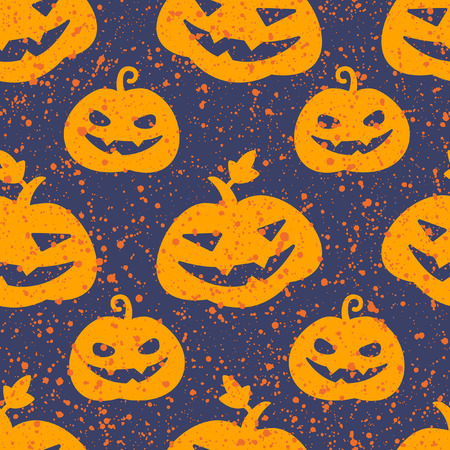 carving: Halloween pumpkin seamless vector pattern. Cute and funny Jack olantern background. Carved pumpkins with scary smiles and splash, specks, drops, blots, spots texture. Illustration
