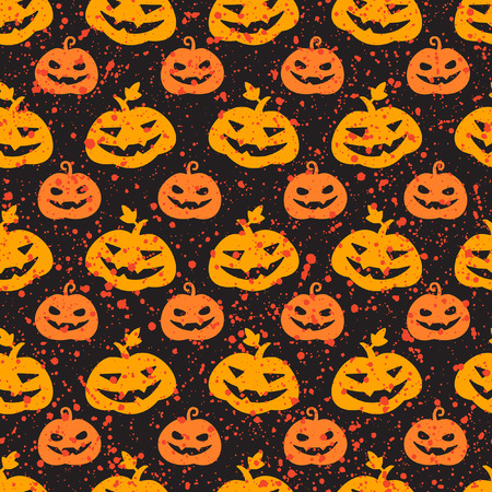 sputter: Halloween pumpkin seamless vector pattern. Cute and funny Jack olantern background. Carved pumpkins with scary smiles and splash, specks, drops, blots, spots texture. Illustration