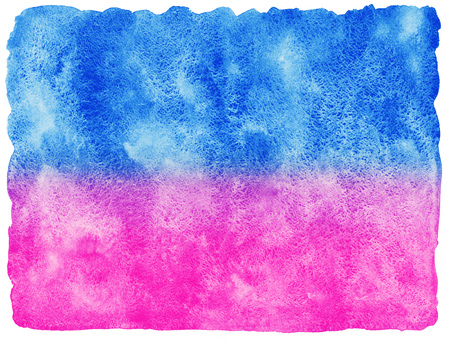 Two colored watercolor stains abstract background. Blue and pink stripes. Watercolour fill with uneven edges. Hand drawn texture.