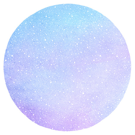 flecks: Winter watercolor round background with falling snow dots texture. Circle shape. Christmas, New Year hand drawn template with tiny specks, flecks snowflakes. Shades of blue watercolour stains.