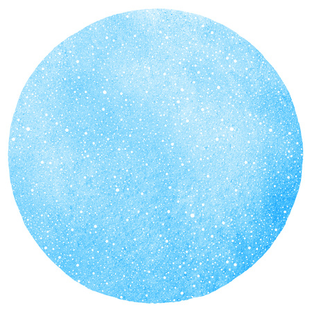 Winter watercolor round background with falling snow dots texture. Circle shape. Christmas, New Year hand drawn template with tiny specks, flecks, snowflakes. Blue watercolour stains. Stock Photo