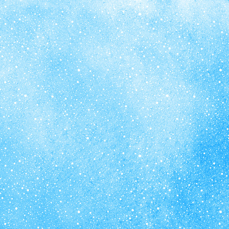 sputter: Winter watercolor background with falling snow splash texture. Christmas, New Year hand drawn template with tiny dots, specks, flecks, snowflakes. Blue watercolour stains.