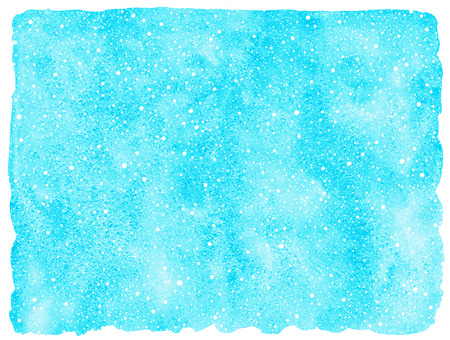 flecks: Sky blue winter watercolor background with falling snow splash texture. Christmas, New Year hand drawn template with uneven edges. Watercolour stains with tiny dots, speckles, flecks, snowflakes.