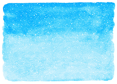Sky blue winter watercolor gradient background with falling snow splash, specks, flecks texture. Christmas, New Year hand drawn template with uneven edges. Watercolour stains with tiny snowflakes.