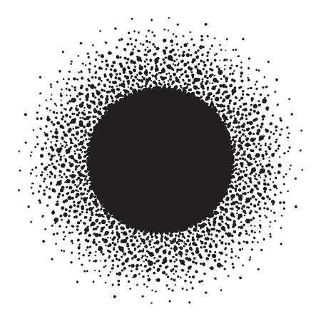 flecks: Round frame with empty space for your text. Frame made of ink spots, splashes, flecks, dots, speckles of various size. Circle shape. Black and white abstract background.