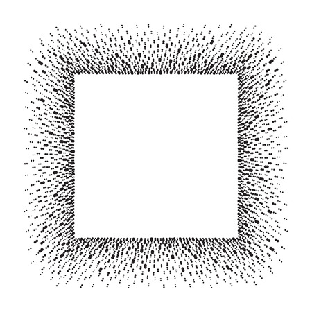 flecks: Square frame with empty space for your text. Rectangle frame made of ink spots, splashes, flecks, dots, speckles of various size. Black and white abstract template.