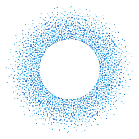 sputter: Round dots frame with empty space for your text. Frame made of ink spots, splashes, flecks, dots, speckles of various size. Circle shape. Shades of blue abstract background. Illustration