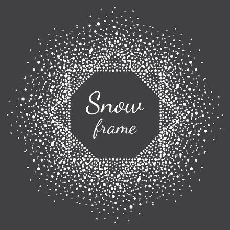 flecks: Octagon snow frame. Winter background made of spots, snowflakes, dots, specks, flecks of various size. New Year, Christmas black and white abstract template with empty space for your text.