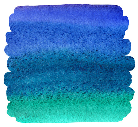 ultramarine blue: Watercolor brush drawn background with uneven edges. Bright colorful stains. Navy blue, ultramarine, emerald watercolour gradient fill. Painted abstract template with rough paper texture. Stock Photo